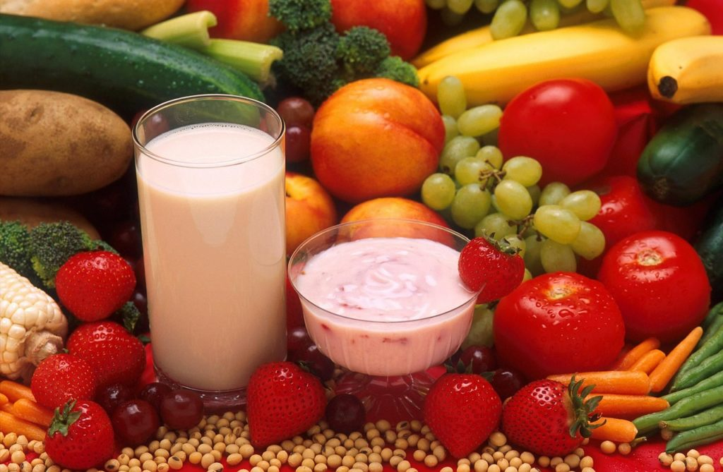 yogurt, milk, vegetables